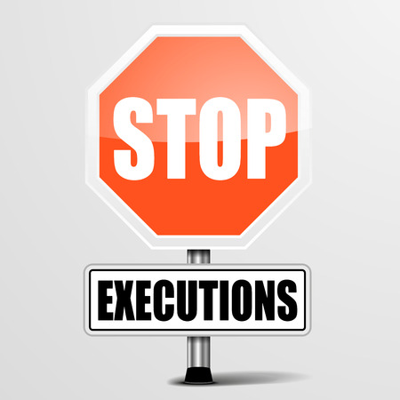 capital punishment: detailed illustration of a red stop Executions sign