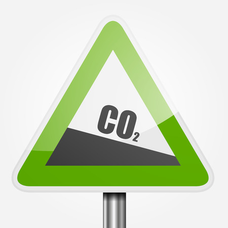 greenhouse gas: detailed illustration of a green downhill grade sign with co2 text, symbol for decreasing co2 output Illustration