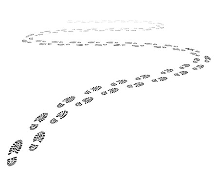 walking trail: detailed illustration of a shoe print trail Illustration