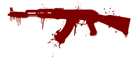 blood splatter: illustration of an automatic gun silhouette with blood splatter