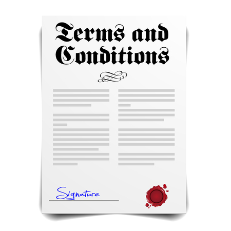 signing papers: detailed illustration of a Terms and Conditions Letter Illustration