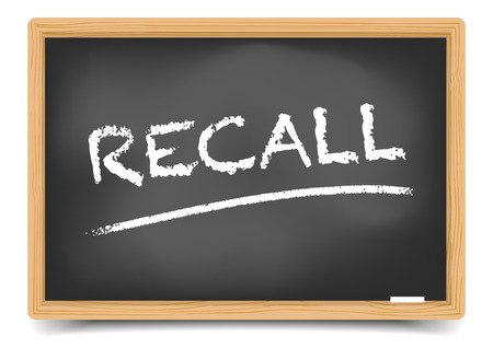 flaw: detailed illustration of a blackboard with Recall text