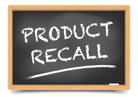 flaw: detailed illustration of a blackboard with Product Recall