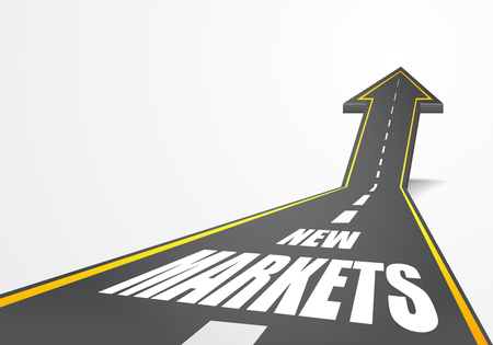 new arrow: detailed illustration of a highway road going up as an arrow with New Markets text