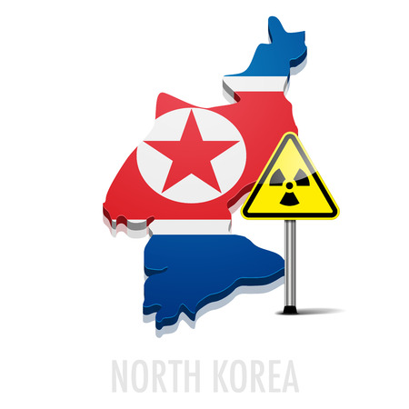 north korea: detailed illustration of a map of North Korea with radiation warning sing
