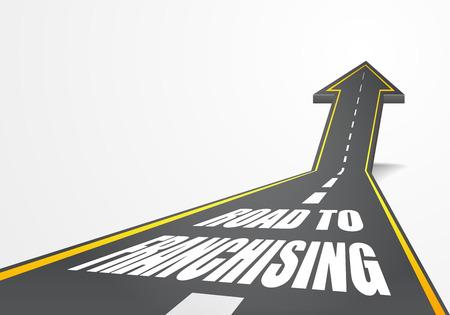 ilustración detallada de un camino de autopista que sube como una flecha con el texto de franquicia