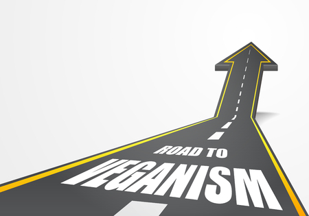 veganism: detailed illustration of a highway road going up as an arrow with Veganism text Illustration