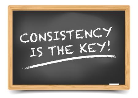 gedetailleerde illustratie van een bord met Consistentie is de sleutel tekst, verloopnet opgenomen