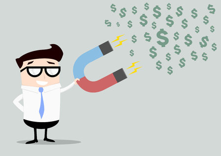 minimalistic illustration of a businessman holding a red and blue horseshoe magnet attracting dollars