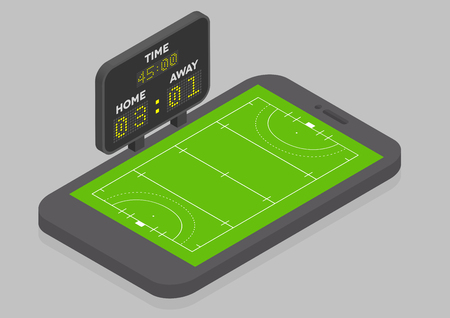 field hockey: minimalistic illustration of a mobile phone in isometric view with Field Hockey field, online watching concept Illustration