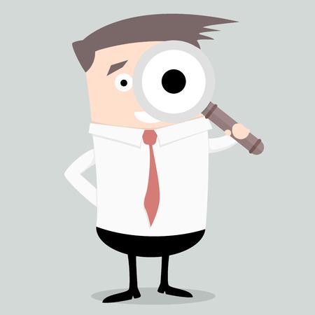 lupa: Ilustración minimalista de un hombre de negocios que sostiene una lupa, el concepto de búsqueda