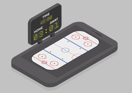 icehockey: minimalistic illustration of a mobile phone in isometric view with Icehockey field, online watching concept