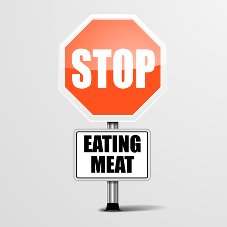 attention: detailed illustration of a red stop Eating Meat sign Illustration