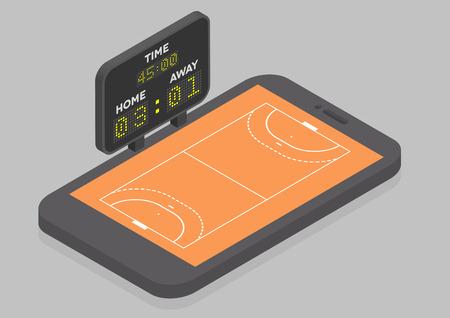 balonmano: Ilustraci�n minimalista de un tel�fono m�vil a la vista isom�trica con el campo de balonmano, el concepto de l�nea viendo