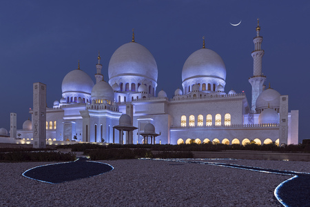 abudhabi: Sheikh Zayed Grand Mosque at night (Abu-Dhabi, UAE)