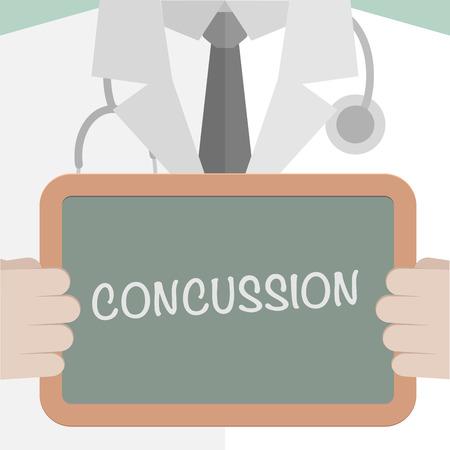 illustration minimaliste d'un médecin tenant un tableau noir avec le texte Concussion