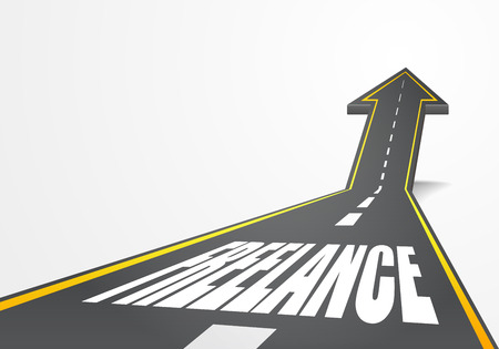 freelance: detailed illustration of a highway road going up as an arrow with Freelance text
