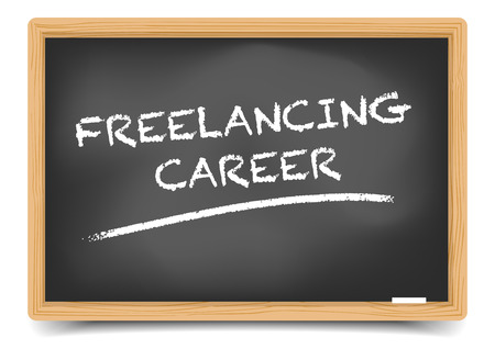 freelancing: detailed illustration of a blackboard with Freelancing Career Buzzword Illustration