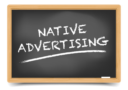 buzzword: detailed illustration of a blackboard with Native Advertising Buzzword,  gradient mesh included