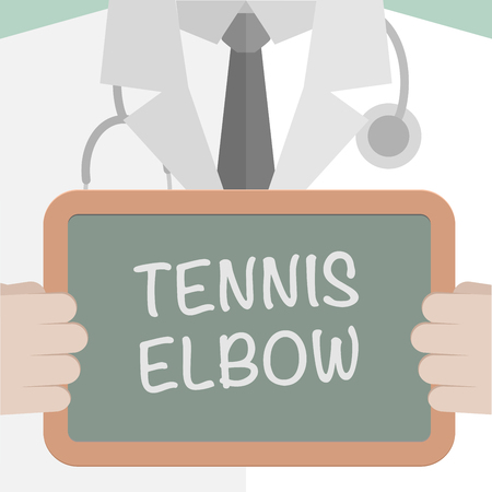 elbow: minimalistic illustration of a doctor holding a blackboard with Tennis Elbow text Illustration