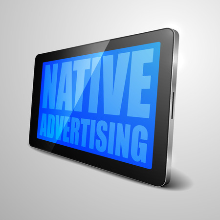 buzzword: detailed illustration of a tablet computer device with Native Advertising Buzzword