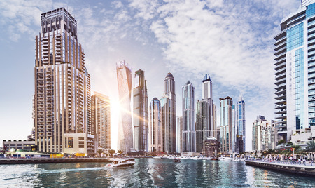 Skyline of Dubai Marina in the evening sun, United Arab Emirates, Middle East