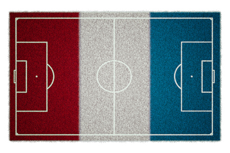 grassy field: football or soccer field on a flag of france with grass texture