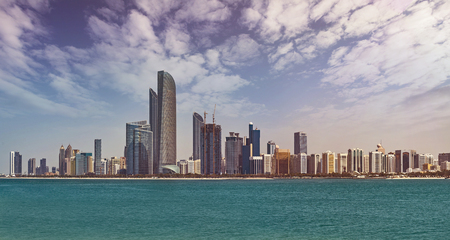 Cityscape of Abu Dhabi, capital of the United Arab Emirates with around 1 million inhabitants