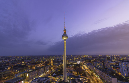 aerial photograph: aerial photograph of the TV Tower (Fernsehturm) at sunset in Berlin, Germany
