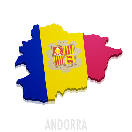 tourism in andorra: detailed illustration of a map of Andorra with flag Illustration