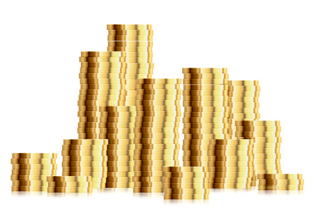 future earnings: detailed illustration of a huge pile of golden coins