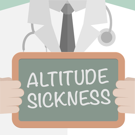 minimalistic illustration of a doctor holding a blackboard with Altitude Sickness text