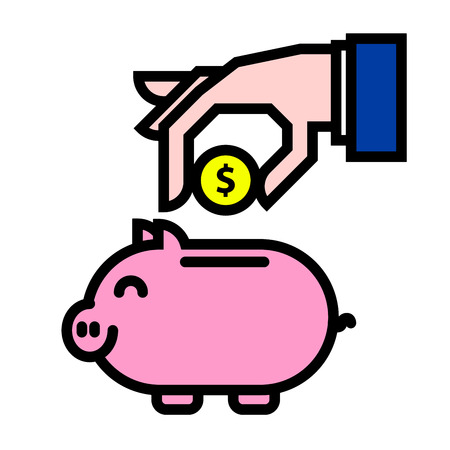 savings: illustration of a hand putting money into a piggybank Illustration