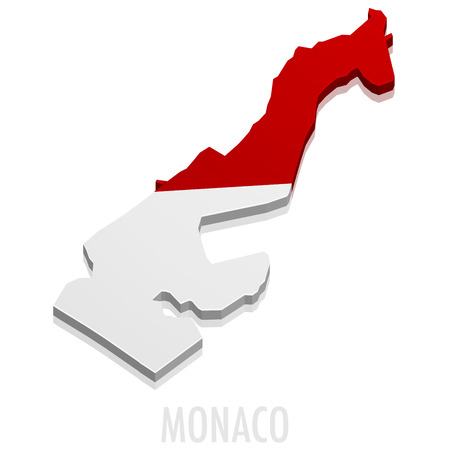 detailed illustration of a map of Monaco with flag
