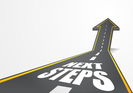 ilustración detallada de un camino de la carretera que sube como una flecha con el texto Siguientes Pasos Ilustración de vector