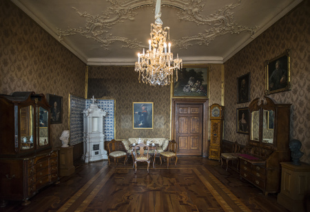 GOTHA, GERMANY - APRIL 15, 2015: living room of late baroque style Friedenstein Castle in Gotha, now used as a museum, Germany