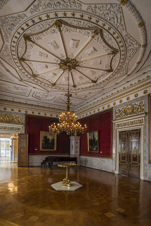 richly: WEIMAR, GERMANY - APRIL 17, 2014: richly decorated antechamber with a piano in the Stadtschloss (city castle) of Weimar, Thuringia, Germany