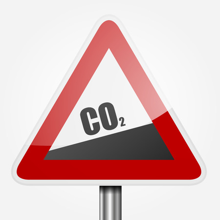 carbon monoxide: detailed illustration of read uphill CO2 traffic sign, symbol for increasing co2 output