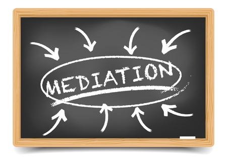 mediator: detailed illustration of a blackboard with a Mediation focus sketch, gradient mesh included
