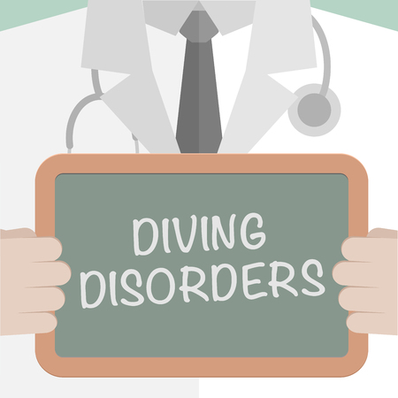 disorders: minimalistic illustration of a doctor holding a blackboard with Diving Disorders text