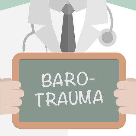 free diver: minimalistic illustration of a doctor holding a blackboard with Barotrauma text Illustration