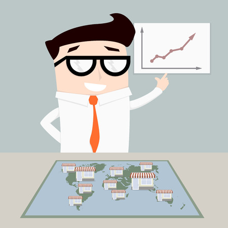 minimalistic illustration of a businessman with world map with stores on top, symbol for a franchise system Illustration