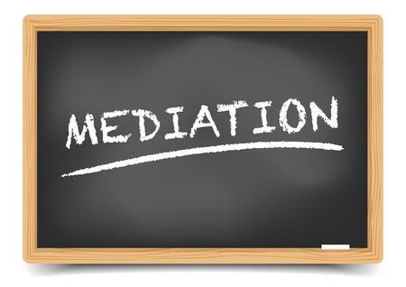 illustrazione dettagliata di una lavagna con testo di mediazione sottolineato