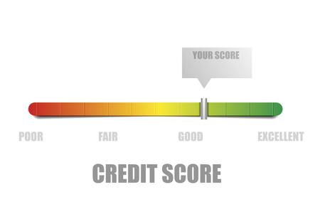 credit report: detailed illustration of a credit score meter with pointer