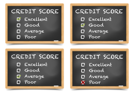 ratings: detailed illustration of checkboxes with Credit Score Ratings on a blackboard