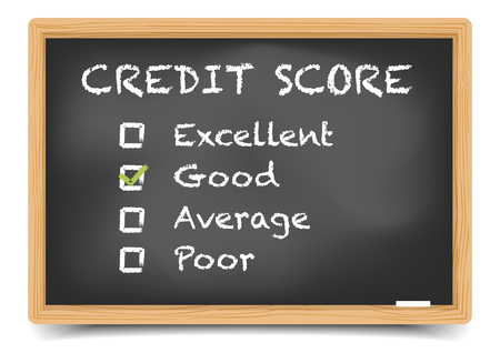 loan: detailed illustration of checkboxes with Credit Score Rating Good on a blackboard