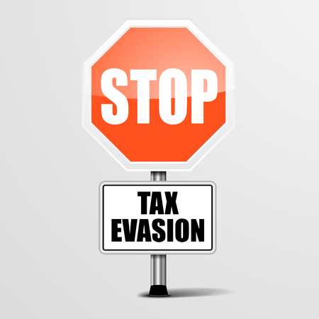 swindle: detailed illustration of a red stop tax evasion sign