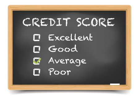 score: detailed illustration of checkboxes with Credit Score Rating Average on a blackboard