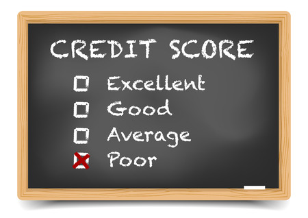 score: detailed illustration of checkboxes with Credit Score Rating Poor on a blackboard