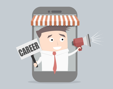 Ilustración minimalista de un hombre de negocios que sale de un teléfono celular, altavoz explotación y de signo carrera